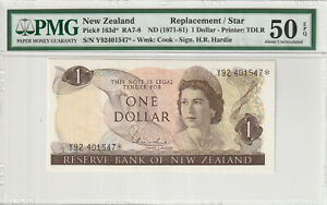 NEW ZEALAND 1 Dollar 1971-81 > Replacement Star * Y92 401547 –Hardie P163d PMG
