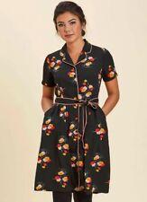 Joanie Clothing Vintage Style Karlie Contrast Floral Shirt Dress, Size 12 UK