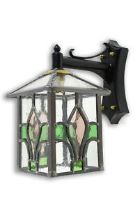 LEADED LANTERN OUTDOOR WALL LIGHT GREEN  PINK STAINED GLASS HAND MADE TL74DCMCM