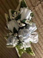 Ladies Wedding Corsage Ivy,Gyp,Baby Blue Roses , Ribbons £7.99