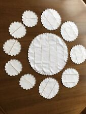 Five Linen place mats and coasters With Large Centre mat