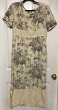 Vintage Monique Fashions Linen Dress Floral Shoulder Pads Sz 12 194.17
