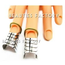 10 Pcs Silver Nail Forms UV Gel Tool Acrylic French Tips Reusable Art NEW #433