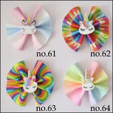 "50 BLESSING National Flag 8/"" ABC Hair Bow Clip 3/"" Grosgrain Ribbon Rainbow 49#"