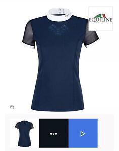 Equiline Navy Show Shirt Isabeli Short Sleeve Flower Appliqué RRP £110