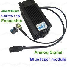Analog Signal 445nm/450nm 5000mW/5W blue laser module 12V DIY CNC engraving
