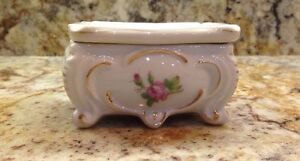 Lovely VINTAGE French Porcelain Small Square Vanity Jewelry box