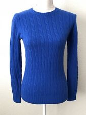 Vineyard Vines Cashmere Coral Lane Cable Sweater Royal Ocean Blue Size XS