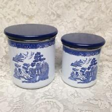 Vintage, Rare, 2pc  Blue Willow Enamelware Canister Set  7in T and 6in T