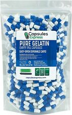 Capsules Express- Size 0 Blue & White Easy Open Empty Sprinkle Gelatin Capsules