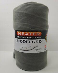 "NEW Biddeford Comfort Knit Heated Electric Throw Blanket 50 x 62"" Gray  Cozy"