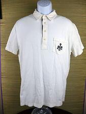 Polo Ralph Lauren Tennis Racquet Short Sleeve White 100% Cotton Large L B1