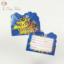 6pcs Pokemon Theme Invitation Card Invitations For Kids Birthday Party Decor