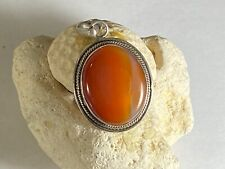 925 Sterling Silver Carnelian Cabochon Pendant  Large