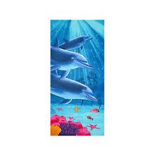 Island Dolphins Sea Life  Terry Velour Beach Bath Towel 30x60 Dolphin