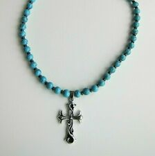 Turquoise Beaded Necklace with Cross - Adjustable Length.