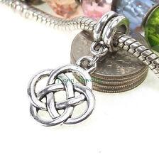 Celtic Knots Dangle Large Hole Silver Tone Bead for European Charm Bracelet
