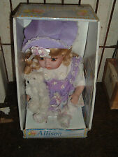 allison porcelain doll in lavender dress 12 inches tall