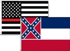 3x5 Usa Thin Red Line Mississippi State 2 Pack Flag Wholesale Set Combo 3'x5'