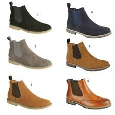 Mens Desert Boots Faux Leather Suede Chelsea Gents Dealer Ankle Shoes Size UK