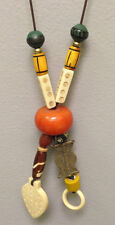 African Amber Brass Bead Yellow Glass Cord Neckalace