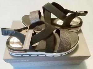 BNIB MARCO TOZZI UK 6, UE 39 Black Glitter Strap Sandals, White Sole.
