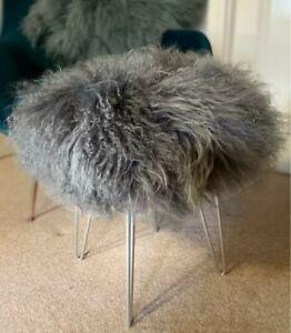 100%  Tibetan Sheep Skin Curly Mongolian Fur Stool 48cm, 4 Silver legs Grey