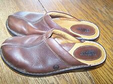Womens Born Brown Genuine Leather Clogs Size 8 / 39 Shoes Slip Ons Comfortable