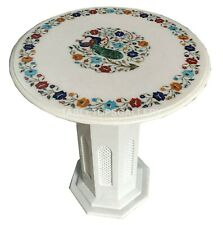 "2' White Marble Side Table Top With 28"" Stand Peacock Inlay Home Decorates W002B"