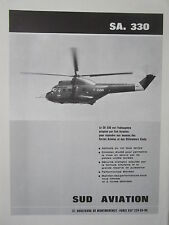 9/1966 PUB SUD AVIATION HELICOPTERE PUMA SA.330 HELICOPTER F-ZWMN FRENCH AD