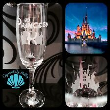 Personalised Disney Princess Castle Champagne Flute Prosecco Birthday Bride Gift