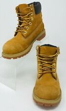 """Unisex Kids Youth 3 Timberland Wheat Suede 6"""" Classic Work Boots Insulated"""
