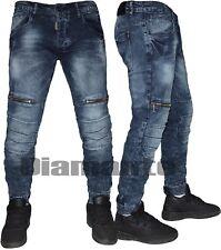 Jeans uomo slim comfort pantaloni Denim blu zip elasticizzati 97067