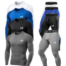 Funktionsunterwäsche Herren Set Kompressions Sportanzug Langarm Shirt Unterhose