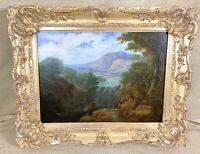Antique 19th Century Oil Painting Romantic Landscape Original Ornate Gold Frame