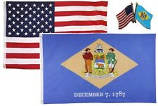 Wholesale Combo Usa & State of Delaware 3x5 3'x5' Flag & Friendship Lapel Pin