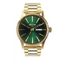 New Authentic Nixon Watch Sentry SS 42mm Gold / Green A356-1919  A3561919