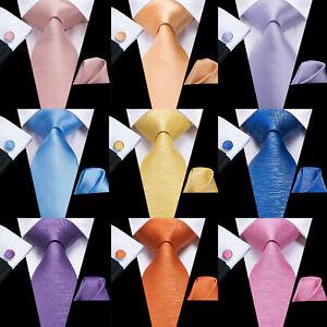Multicoloured Mens Ties Set Solid Necktie For Men 100% Silk Plain Tie Wedding