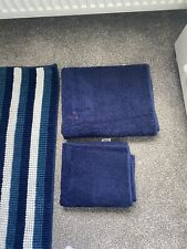 Navy And White Bobble Bath Mat & Towels