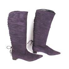 17S GUCCI Damen Stiefel Slouchy Boots weiches Leder Suede lila Gr. 36 spitz