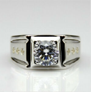 1 Ct Round Cut Diamond 14K White Gold Fn Solitaire Mens Engagement Wedding Band