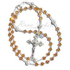 Topaz NOVEMBER Birthstone Catholic Prayer Rosary Beads w/Crystals from Swarovski