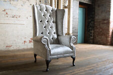MODERN QUEEN ANNE CRUSHED ICE VELVET CHESTERFIELD WING ARMCHAIR, HIGH BACK