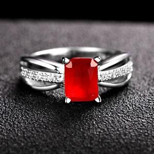 Handmade 3.45ct Ruby   Size US 7 14K White Gold Ring CM201