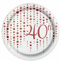 40th Wedding Anniversary Tableware White and Ruby Plates Napkins Cups Glasses