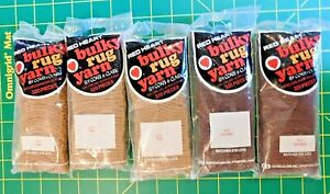 Red Heart Bulky Rug Yarn Lot  2 Brown #612 & 3 Tan # 613 Precut For Latch Hook