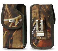 REIKO Camouflage Vertical Heavy Duty Canvas Belt Clip Case for Samsung Phones