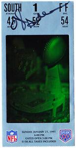 Ottis OJ Anderson signed 2X - Super Bowl 25 Ticket Stub ~ MVP + Matt Bahr - JSA