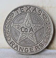 """1 oz Texas Rangers .999 Silver Medal Round - Antiqued - Estados Mexicanos """"Unc"""""""