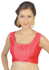 Indian Red Polyester Silk Blouse Top Choli Bollywood Traditional Saree Fabric NW